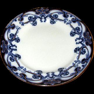 "English Flow Blue ""Iris"" 9"" Plate"