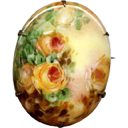 Hand-Painted Ceramic Pin with Yellow Roses