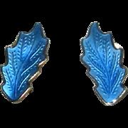 Norway Sterling & Blue Enamel Clip Earrings