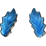 Norway Sterling & Blue Enamel Clip Earrings