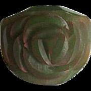 Dark Olive Green Carved Bakelite Ring