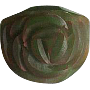 Dark Olive Green Carved Bakelite Ring
