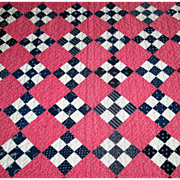"Antique Calico ""Nine-Patch"" Quilt"