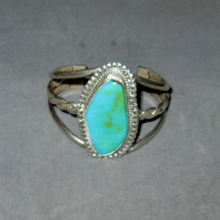 Signed Sterling Silver Cuff with Turquoise Stone