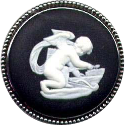 Sterling Silver Black Wedgwood Cameo Pin with Cupid