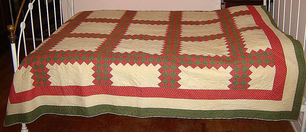 "Red and Green ""Triple Irish Chain"" Patchwork Quilt"
