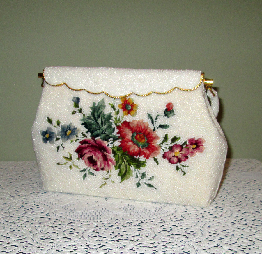 White Beaded Handbag with Petit Point Roses