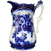 Ironstone Pottery Fancy Flow Blue Pitcher