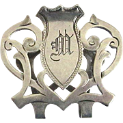 "Lunt Sterling Art Nouveau Napkin Clip with Monogram ""M"""