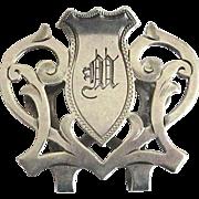 """Lunt Sterling Art Nouveau Napkin Clip with Monogram """"M"""""""