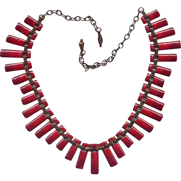 "Matisse Copper & Red Enamel ""Peter Pan"" Necklace"