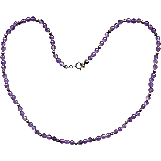 "16"" Cabochon Amethyst and Silver Bead Necklace"