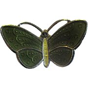 Tiny Norway Sterling & Green Enamel Butterfly Pin