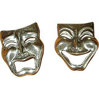 Pair of Sterling Silver Comedy-Tragedy Mask Pins