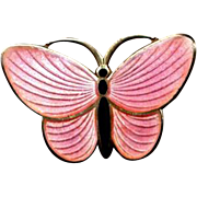Norway Sterling and Pink Enamel Butterfly Pin