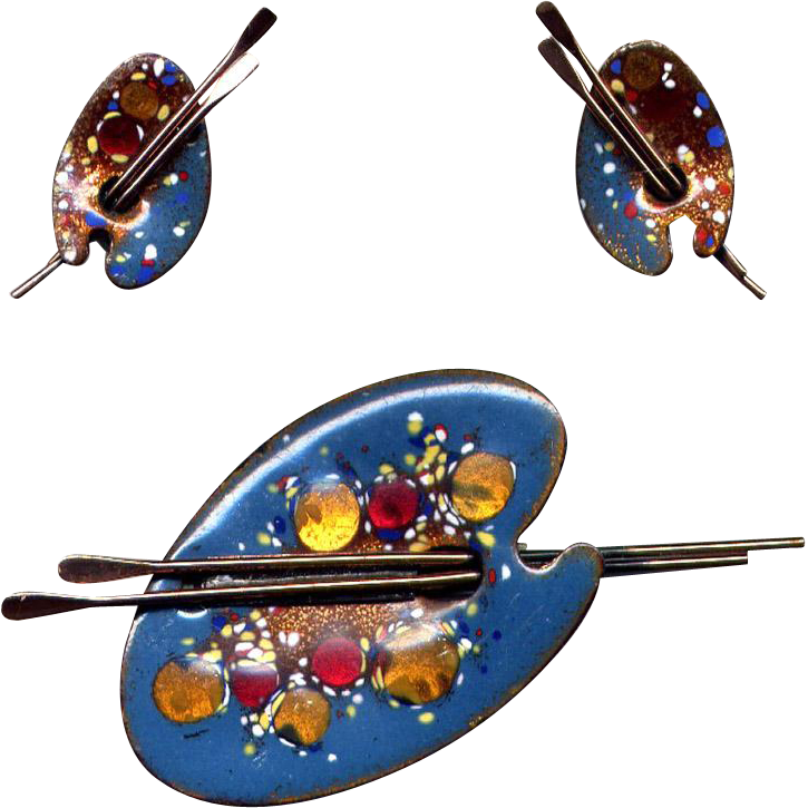 Matisse Blue Enamel Palette Pin & Earring Set