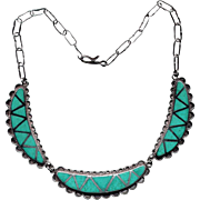 Native American Silver and Turquoise Inlay Necklace