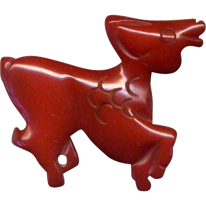 Carved Red Bakelite Cow Pin