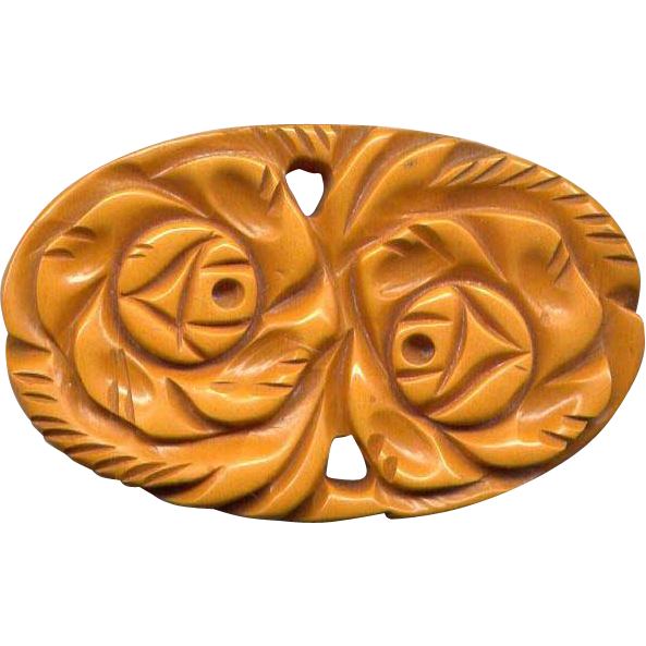 Large, Chunky Carved Caramel Bakelite Flower Pin