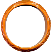 Vintage Carved Caramel Bakelite Bangle