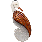 Vintage Carved Lucite and Wood Bird Pin