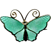 Norway Sterling & Green Guilloche Enamel D-A Butterfly Pin