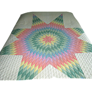 Patchwork Lone Star Quilt with Tumbling Blocks Border