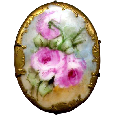 Hand-Decorated Ceramic Pin with Pink Roses