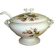 "Ironstone Pottery ""Moss Rose"" Soup Tureen with Ladle"