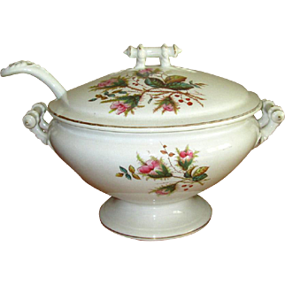 """Ironstone Pottery """"Moss Rose"""" Soup Tureen with Ladle"""