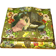 Victorian Celluloid Stationery Box with Pretty Lady and Pansies
