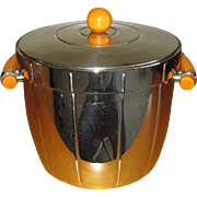 Depression-Era Chrome Ice Bucket with Caramel Bakelite Handles