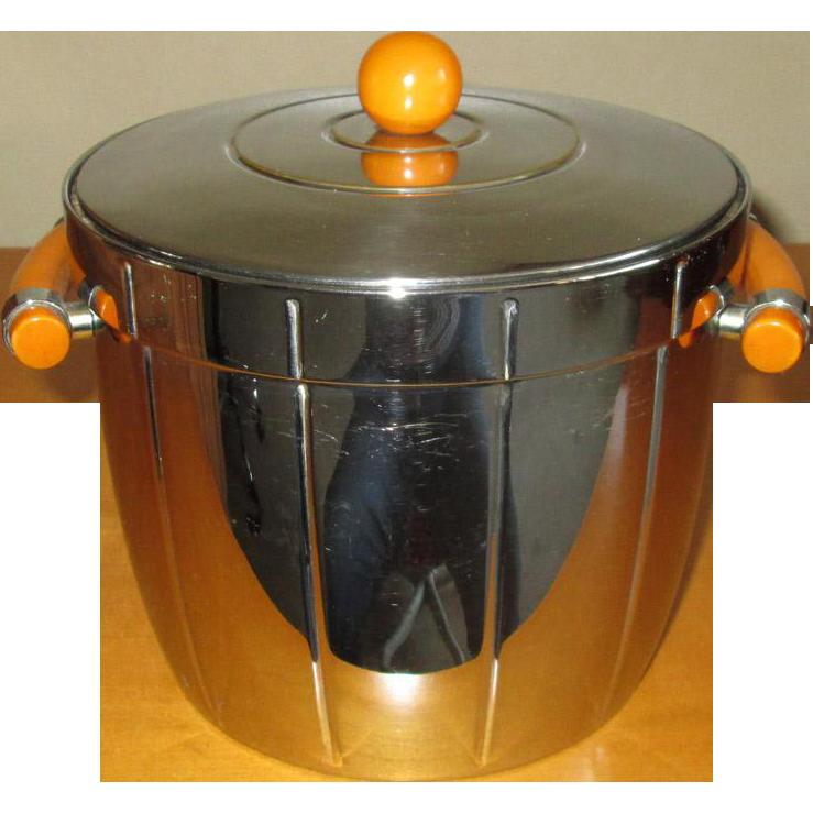 Depression-Era Chrome Ice Bucket with Caramel Bakelite Handles