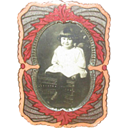 Small Depression Era Enamel Table Top Picture Frame