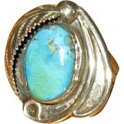 Sterling & Turquoise Native American Ring with Serrated Feather