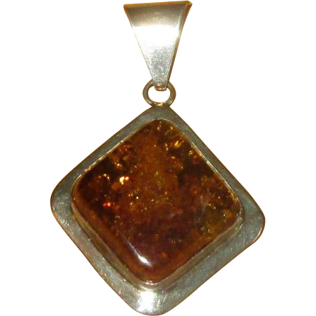 Chunky Sterling Silver and Amber Pendant