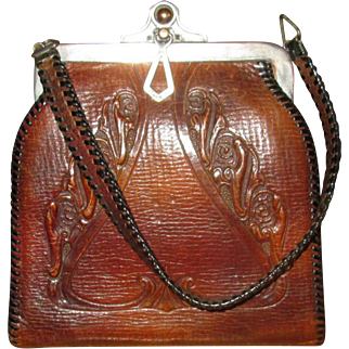 Vintage Tooled Leather Handbag with Art Nouveau Design