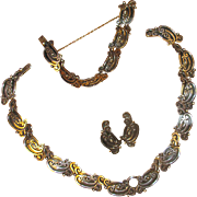 Vintage Mexican Sterling Margot de Taxco Necklace, Bracelet & Earrings