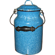 Turquoise Enamel Graniteware Beer Pail with Lid