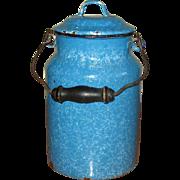 Turquoise Enamel Graniteware Beer Pail with Lid