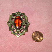 Edwardian Brass Pin with Faux Topaz