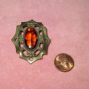 Edwardian Brass Pin with Faux Topaz