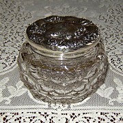 Crystal Powder Jar with Fancy Sterling Silver Top