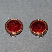 "Copper Clip Earrings with Red Enamel Marked ""Matisse Renoir"""