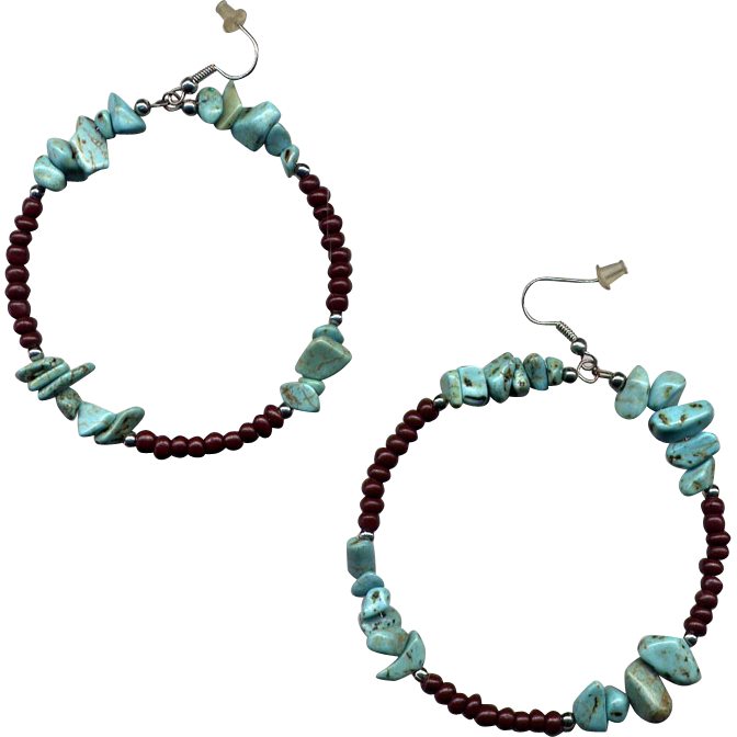 Large Costume Dangle Earrings with Turquoise Nuggets