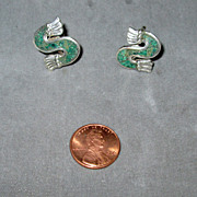 Mexican Sterling Inlaid Stone Screw Back Earrings