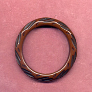 Carved Brown and Black Bakelite Bangle Bracelet
