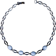 Sterling Silver and Blue Stone Choker Necklace