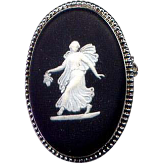 Sterling Silver Black Wedgwood Cameo Pin