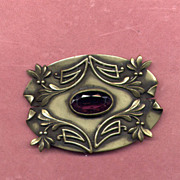 Large Edwardian Brass Sash Pin with Purple Stone